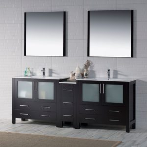 "Sydney Modern 84"" Double Bathroom Vanity Set with Mirrors Espresso"