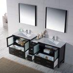 Sydney Modern 84″ Double Bathroom Vanity Set with Mirrors Espresso