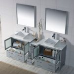 Sydney Modern 84″ Double Bathroom Vanity Set with Vessel Sinks and Mirrors Metal Gray