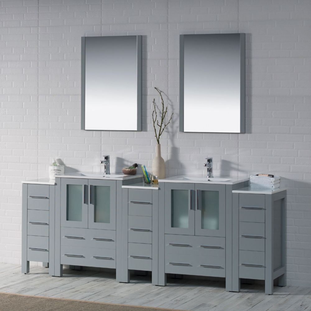 """Sydney Modern 84"""" Bathroom Vanity Set with Double Side Cabinets Metal Gray"""