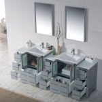 Sydney Modern 84″ Bathroom Vanity Set with Double Side Cabinets Metal Gray