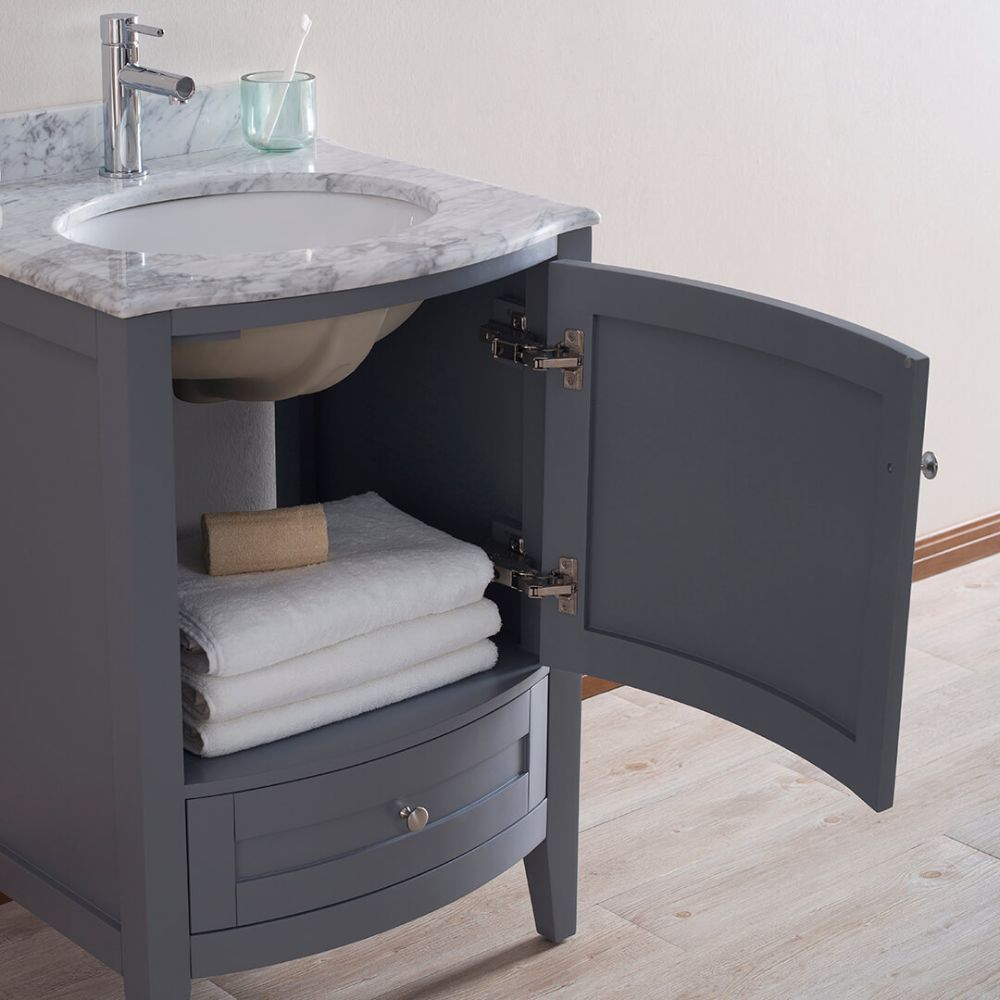 "Rome 24"" Charcoal Gray Bathroom Bathroom Vanity Set with White Carrara Marble Top and Mirror"