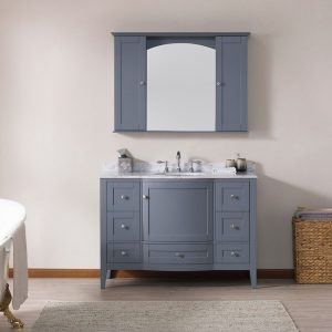 "Rome 48"" Charcoal Gray Bathroom Bathroom Vanity Set with White Carrara Marble, Mirror and Wall Cabinets"