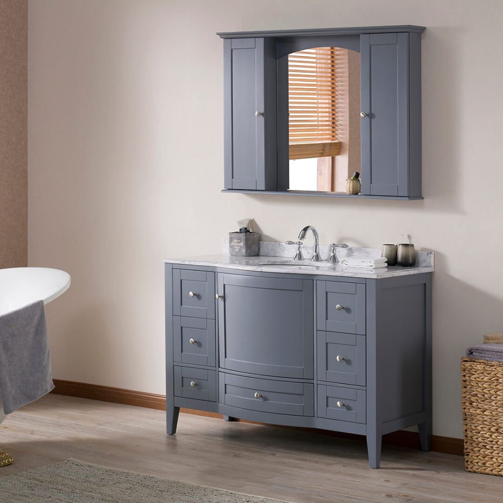 """Rome 48"""" Charcoal Gray Bathroom Bathroom Vanity Set with White Carrara Marble, Mirror and Wall Cabinets"""
