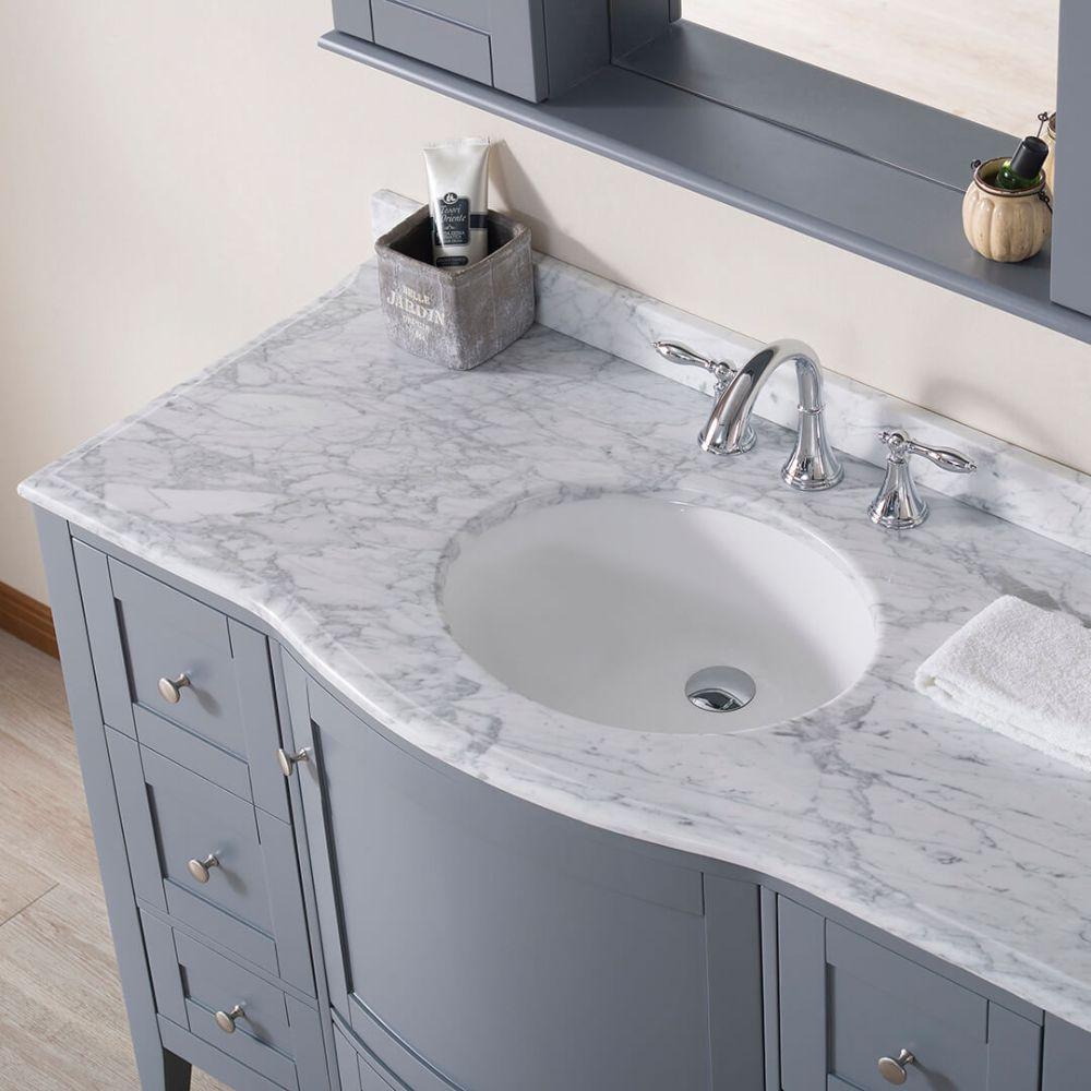 "Rome 48"" Charcoal Gray Bathroom Bathroom Vanity Set with White Carrara Marble Top"
