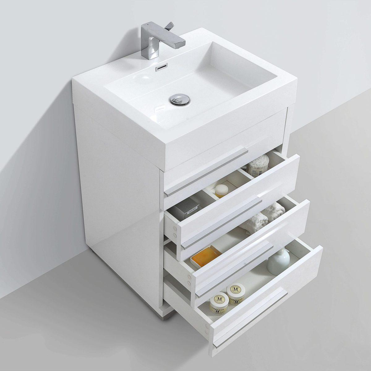 "Barcelona Modern 24"" Bathroom Vanity Set in Glossy White with Mirror"
