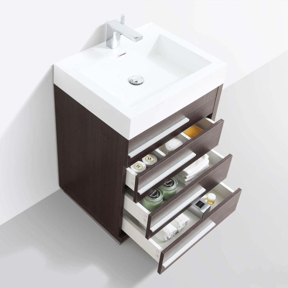 "Barcelona Modern 24"" Bathroom Vanity Set in Gray Oak with Mirror"