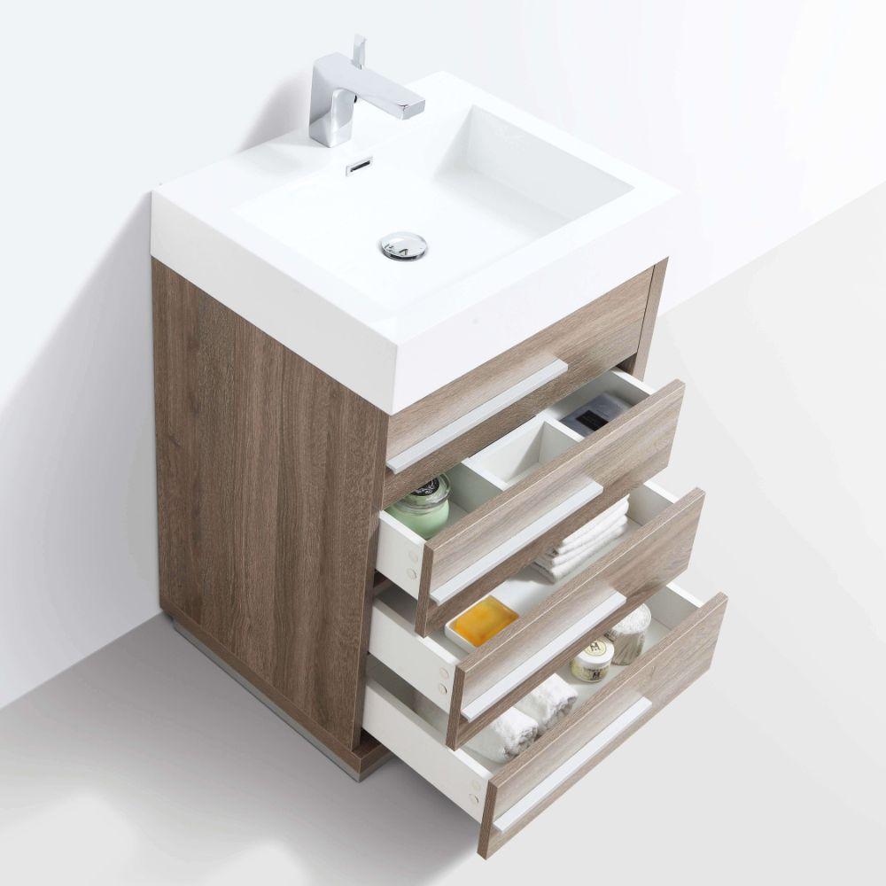 "Barcelona Modern 24"" Bathroom Vanity Set in Cart Oak with Mirror"