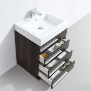 "Barcelona Modern 24"" Bathroom Vanity Set in Dark Oak with Mirror"