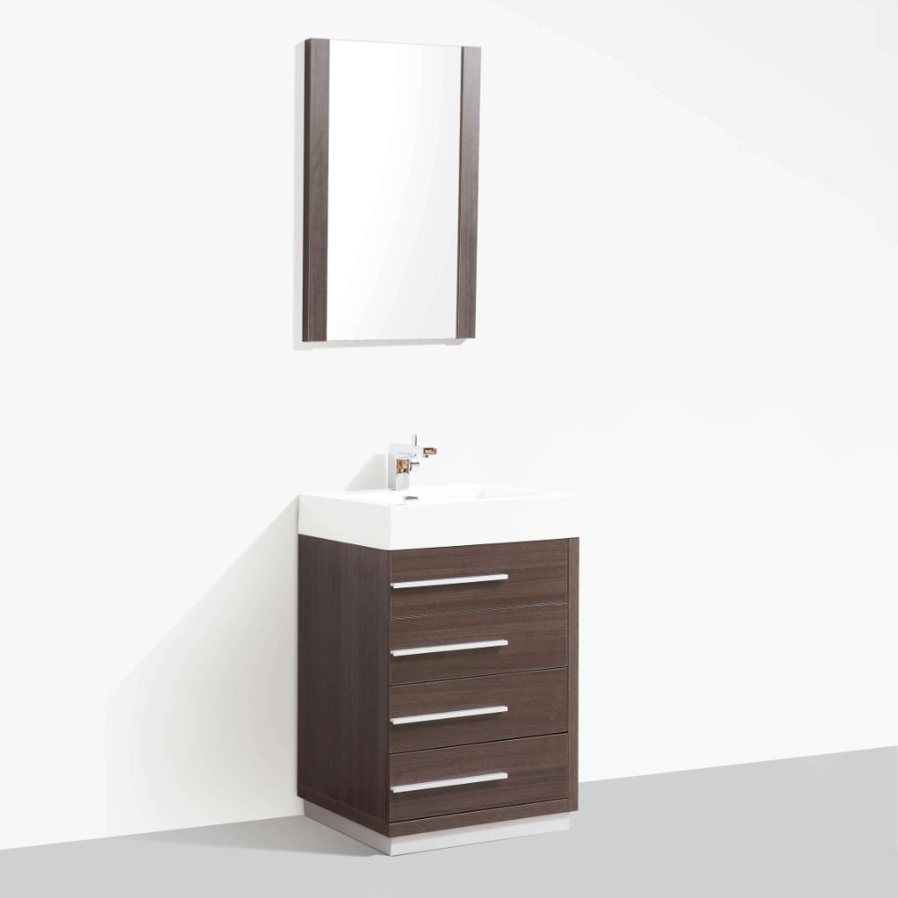 "Barcelona Modern 30"" Bathroom Vanity Set in Gray Oak"