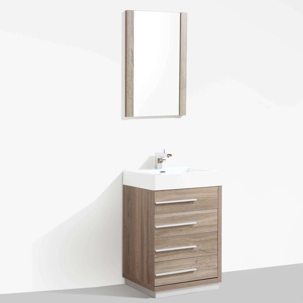 "Barcelona Modern 30"" Bathroom Vanity Set in Cart Oak with Mirror"