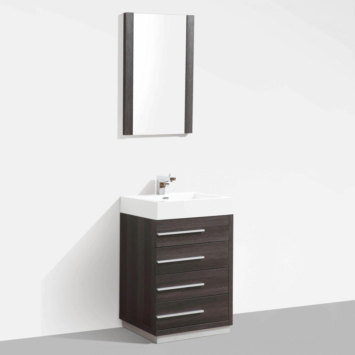"Barcelona Modern 30"" Bathroom Vanity Set in Dark Oak with Mirror"
