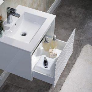 Paris 24 inch Glossy White Wall Mount Bathroom Vanity Set