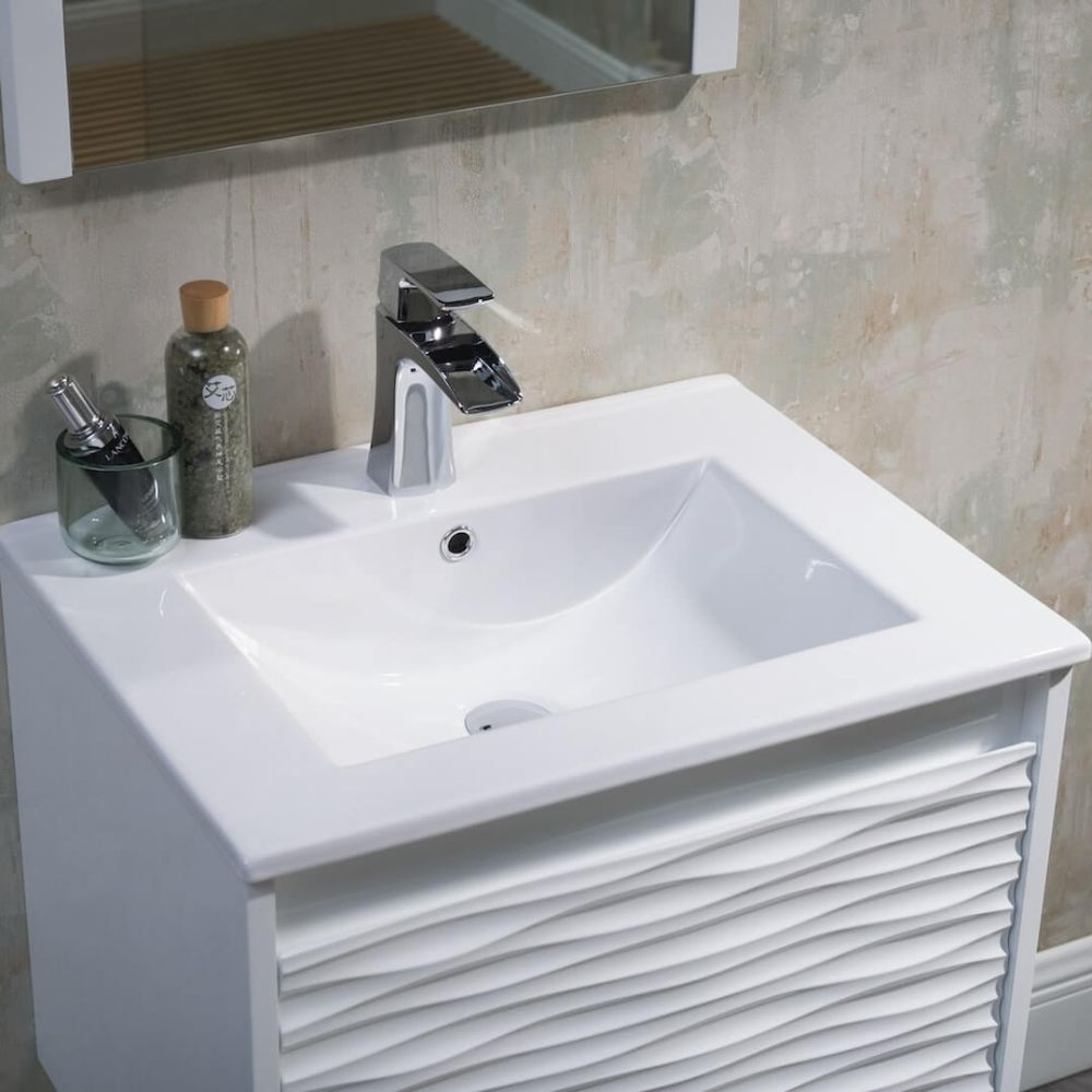 Paris 24 inch Glossy White Wall Mount Bathroom Vanity Set