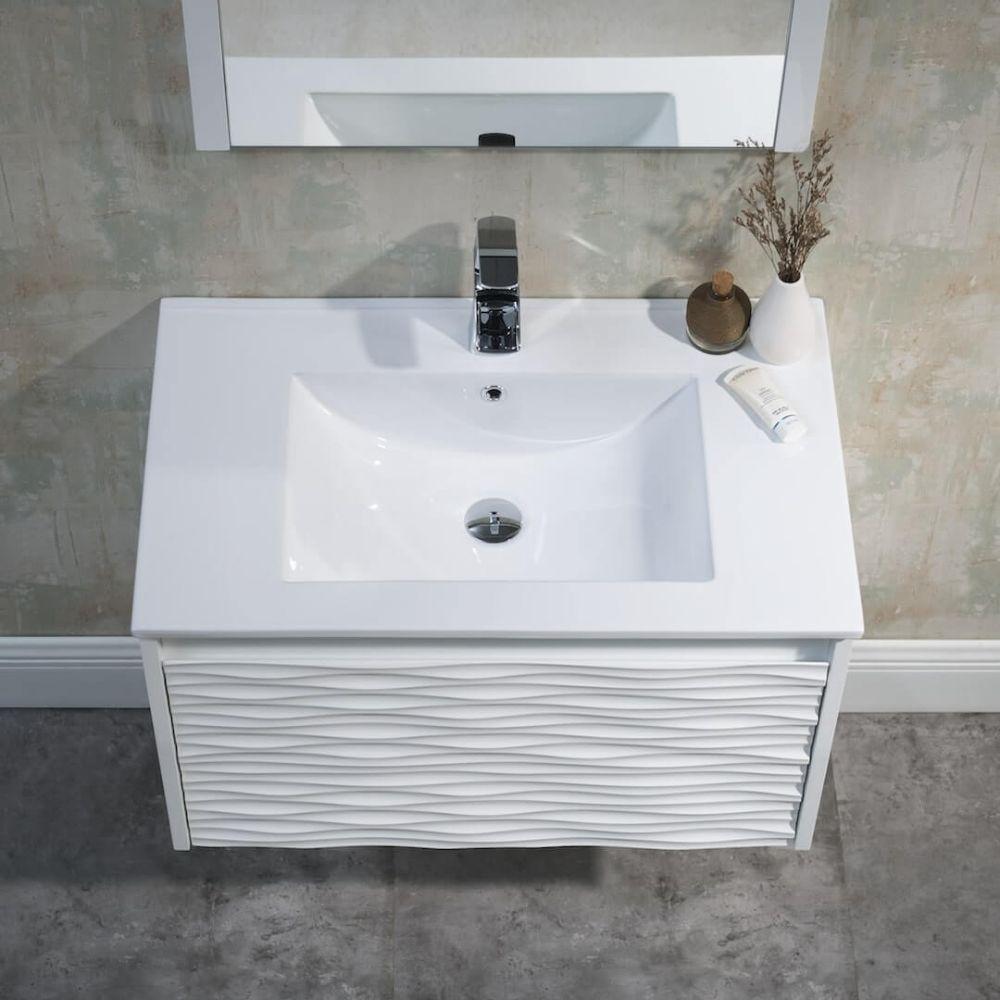 Paris 30 inch Glossy White Wall Mount Bathroom Vanity Set