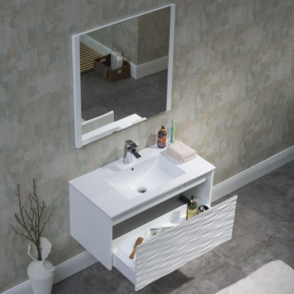 Paris 36 inch Glossy White Wall Mount Bathroom Vanity Set