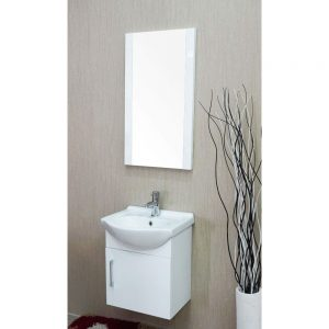 "Naples 18"" Glossy White Bathroom Vanity Set with Mirror"
