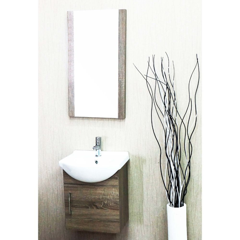 "Naples 18"" Cart Oak Bathroom Vanity Set with Mirror"