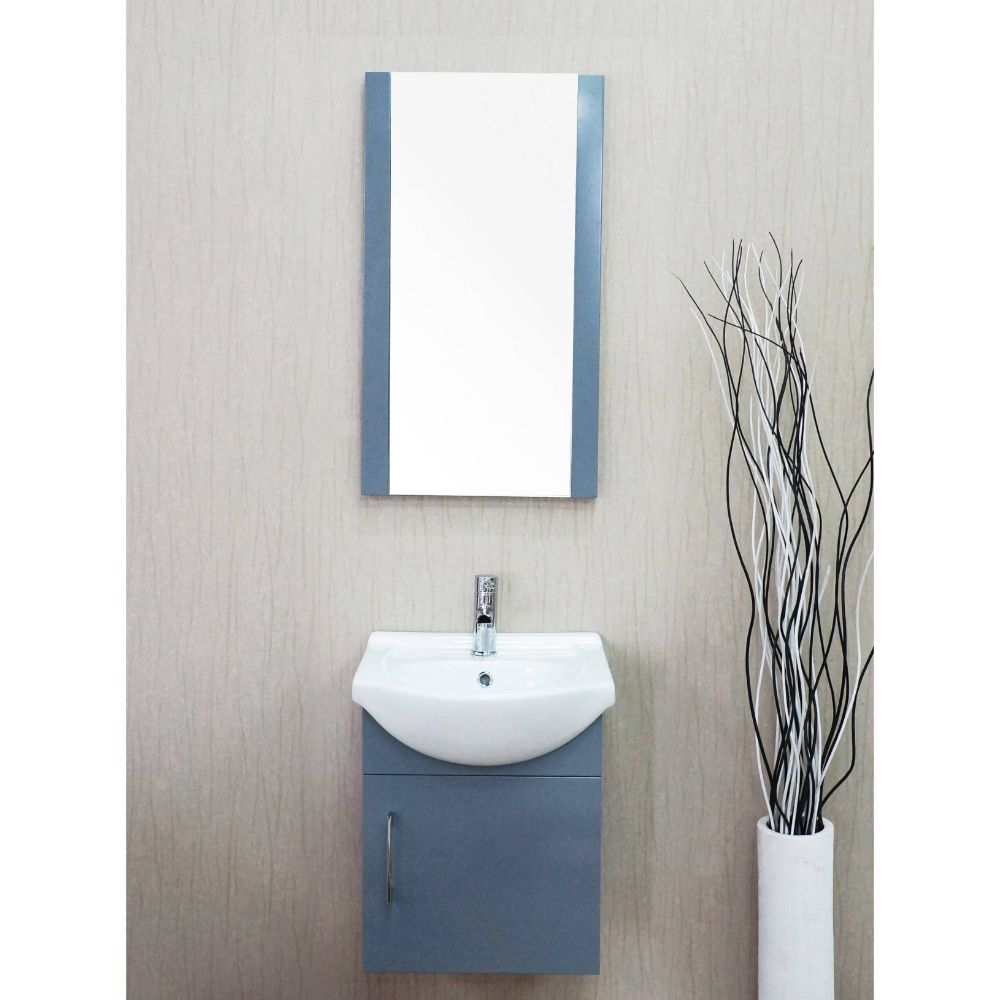 "Naples 18"" Charcoal Gray Bathroom Vanity Set with Mirror"