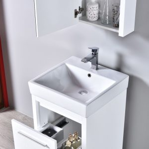 "Milan Modern 20"" Glossy White Bathroom Vanity Set with Mirror"