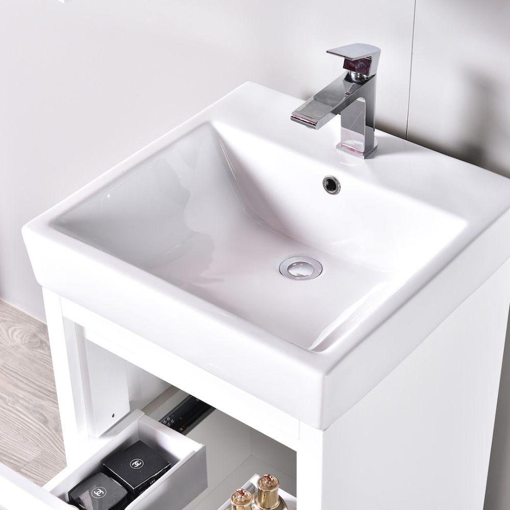 "Milan Modern 20"" Glossy White Bathroom Vanity Set with Mirror"