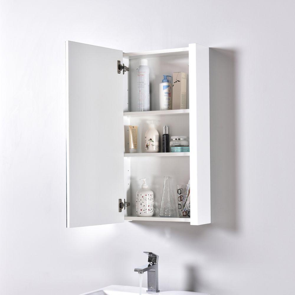 "Milan Modern 20"" Glossy White Bathroom Vanity Set with Medicine Cabinet"