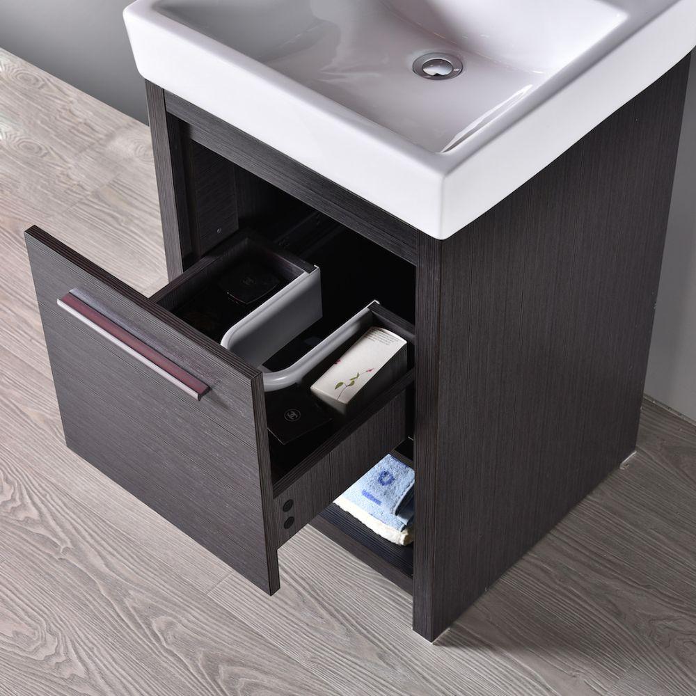 "Milan Modern 20"" Silver Grey Bathroom Vanity Set with Mirror"