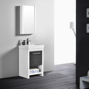 "Milan Modern 20"" Glossy White & Silver Grey Bathroom Vanity Set with Mirror"