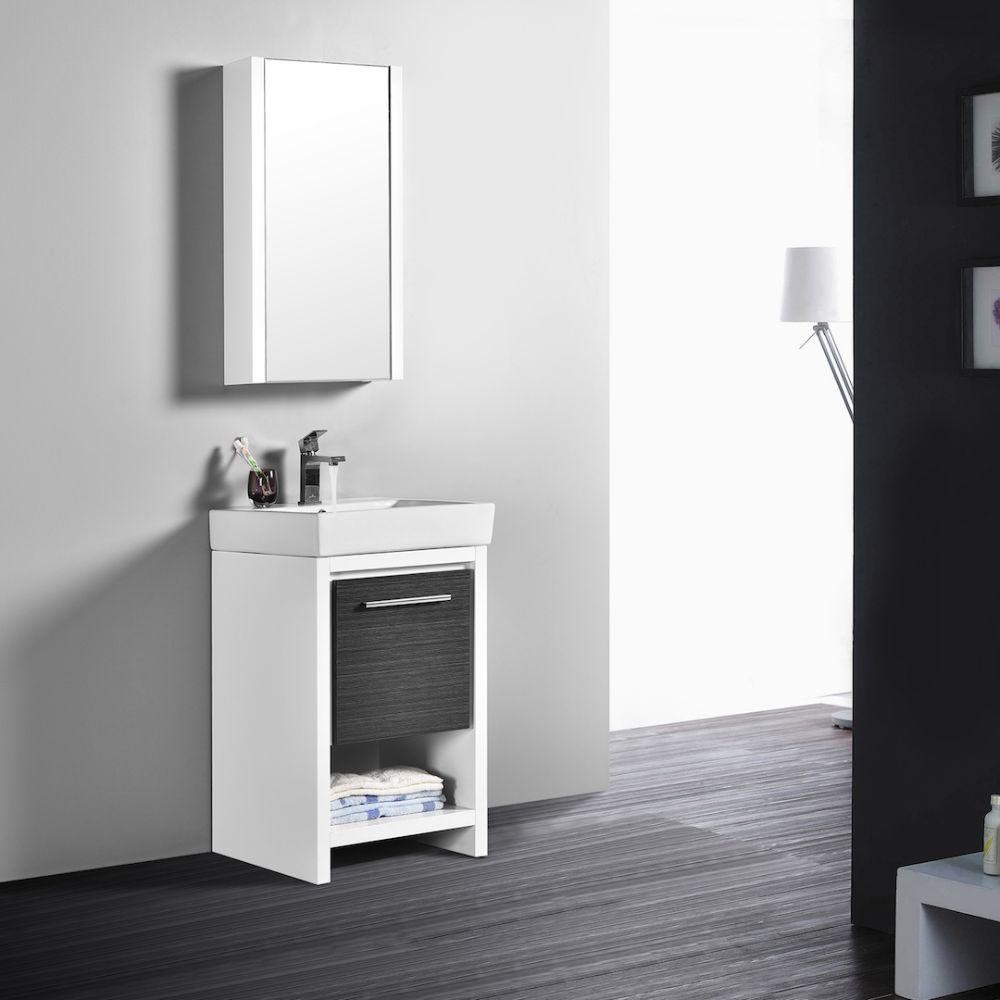 "Milan Modern 20"" Glossy White & Silver Grey Bathroom Vanity Set with Mirror"