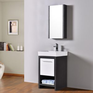 "Milan Modern 20"" Silver Grey & Glossy White Bathroom Vanity Set with Mirror"