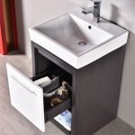 Milan Modern 20″ Silver Grey & Glossy White Bathroom Vanity Set with Mirror
