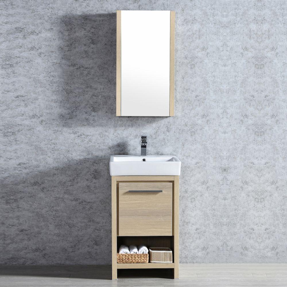 "Milan Modern 20"" Briccole Oak Bathroom Vanity Set with Mirror"
