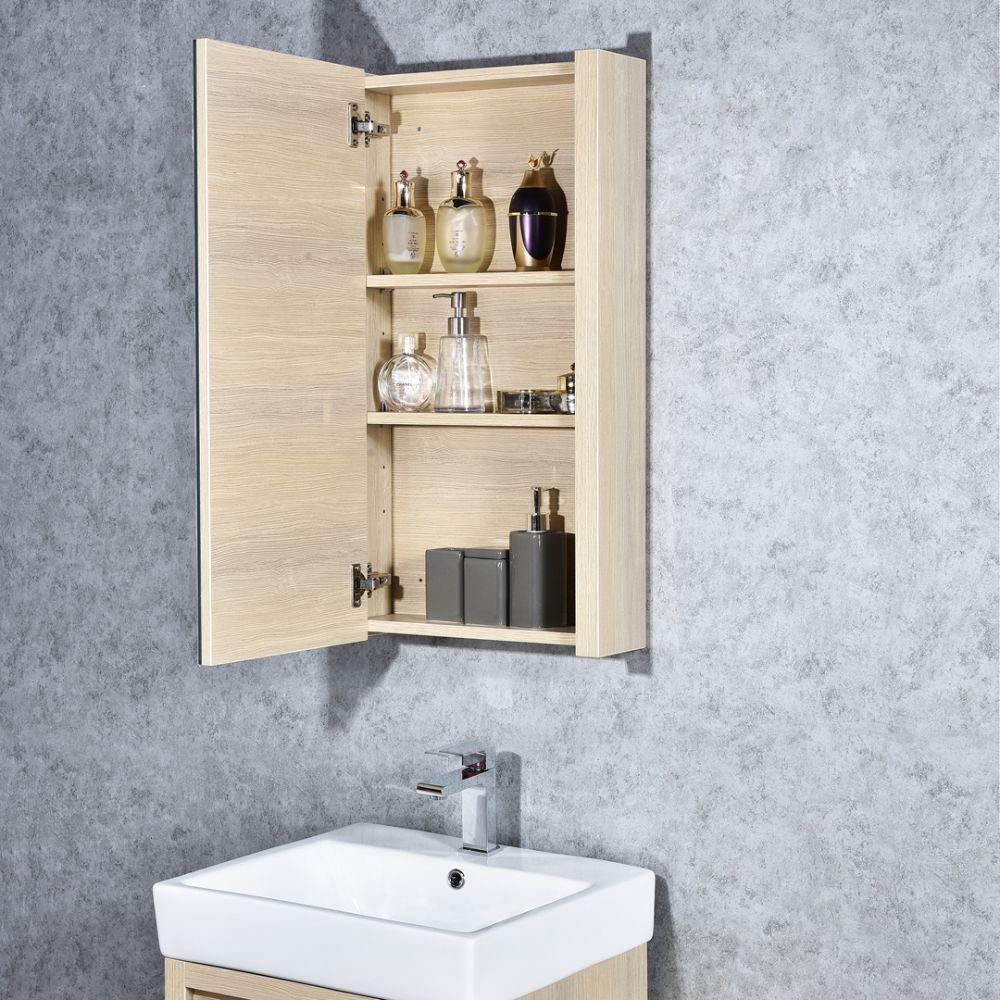 "Milan Modern 20"" Briccole Oak Bathroom Vanity Set with Medicine Cabinet"