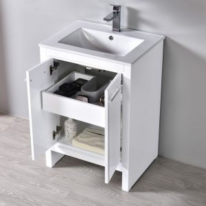 "Milan Modern 24"" Glossy White Bathroom Vanity Set with Mirror"