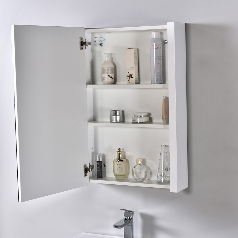 "Milan Modern 24"" Glossy White Bathroom Vanity Set with Medicine Cabinet"