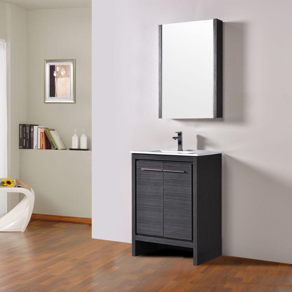 "Milan Modern 24"" Silver Grey Bathroom Vanity Set with Mirror"