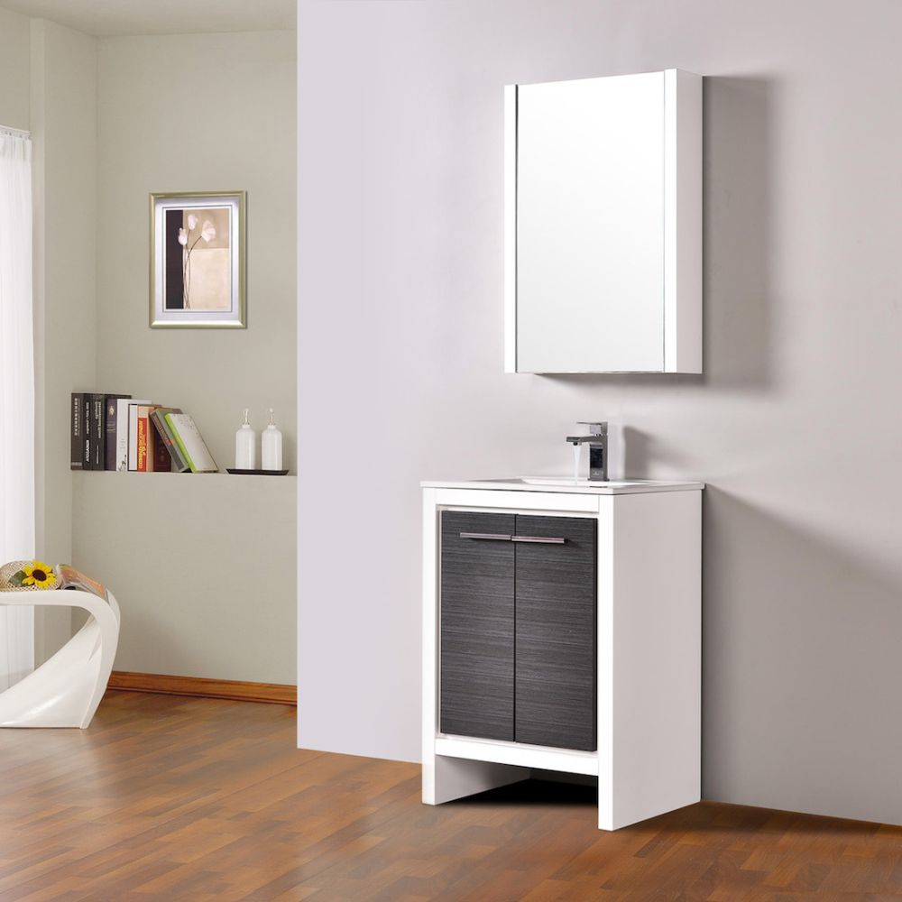 "Milan Modern 24"" Glossy White & Silver Grey Bathroom Vanity Set with Mirror"