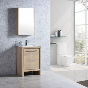 "Milan Modern 30"" Briccole Oak Bathroom Vanity Set with Medicine Cabinet"
