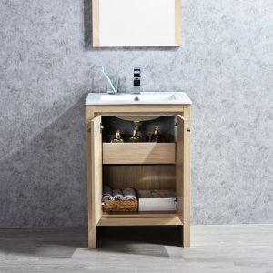 "Milan Modern 24"" Briccole Oak Bathroom Vanity Set with Mirror"