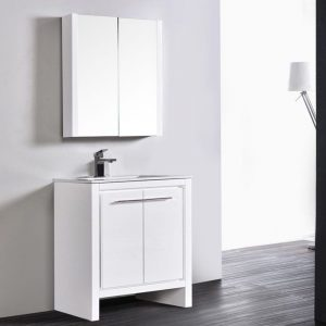 "Milan Modern 30"" Glossy White Bathroom Vanity Set with Mirror"