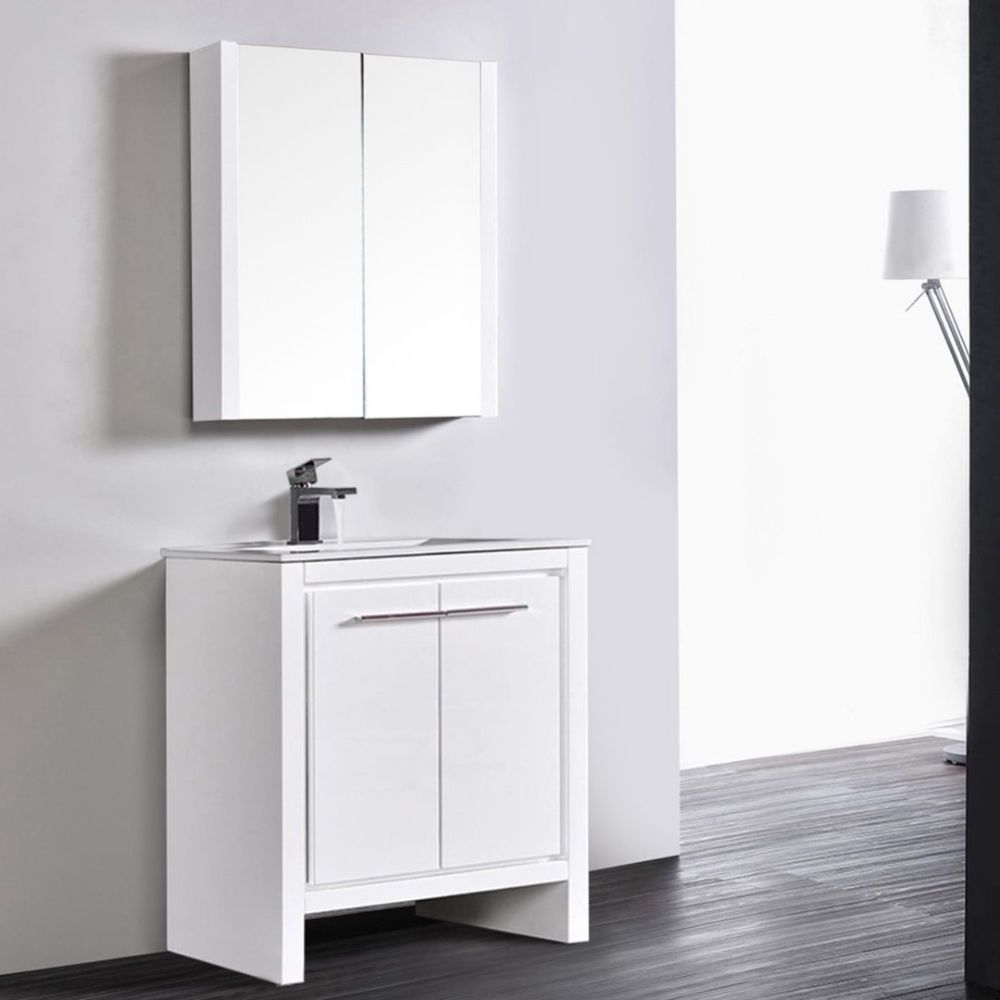 "Milan Modern 30"" Glossy White Bathroom Vanity Set with Mirror"