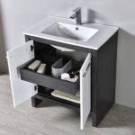 Milan Modern 30″ Glossy White & Silver Grey Bathroom Vanity Set with Mirror