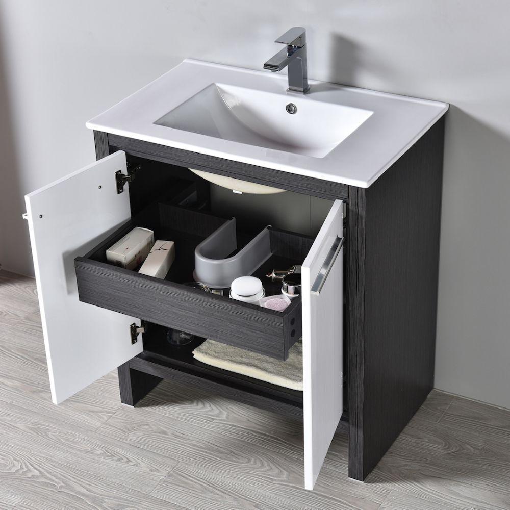 "Milan Modern 30"" Glossy White & Silver Grey Bathroom Vanity Set with Mirror"