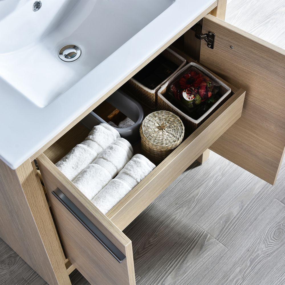 "Milan Modern 30"" Briccole Oak Bathroom Vanity Set with Mirror"