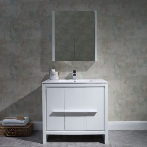 "Milan Modern 36"" Glossy White Bathroom Vanity Set with Mirror"