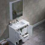 Milan Modern 36″ Glossy White Bathroom Vanity Set with Mirror