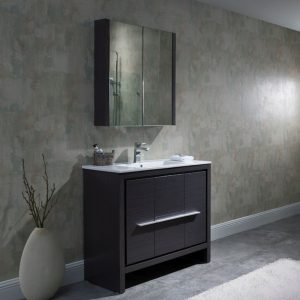 "Milan Modern 36"" Silver Grey Bathroom Vanity Set with Mirror"