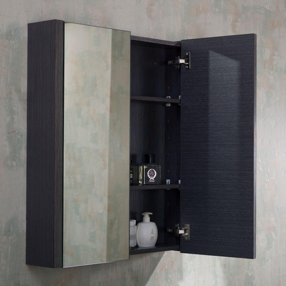 """Milan Modern 36"""" Silver Grey Bathroom Vanity Set with Medicine Cabinet"""