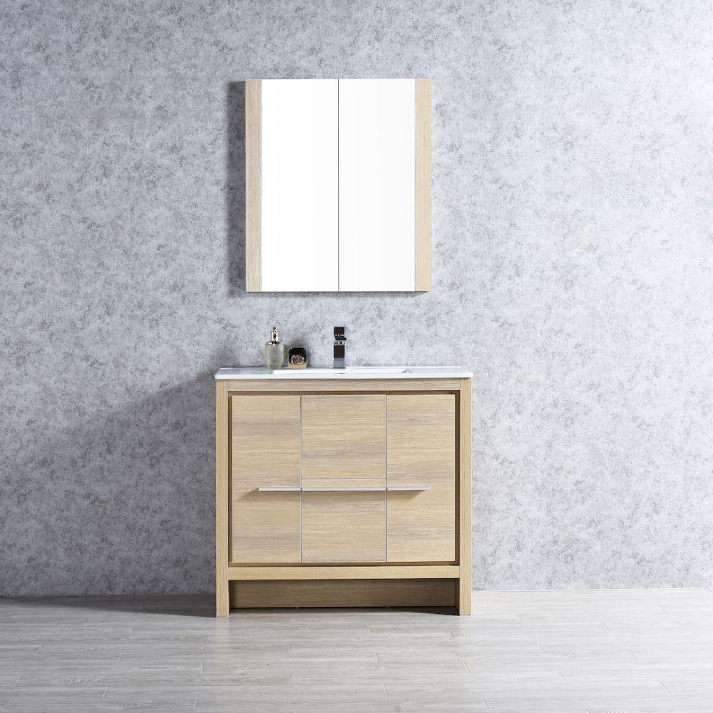 "Milan Modern 36"" Briccole Oak Bathroom Vanity Set with Mirror"