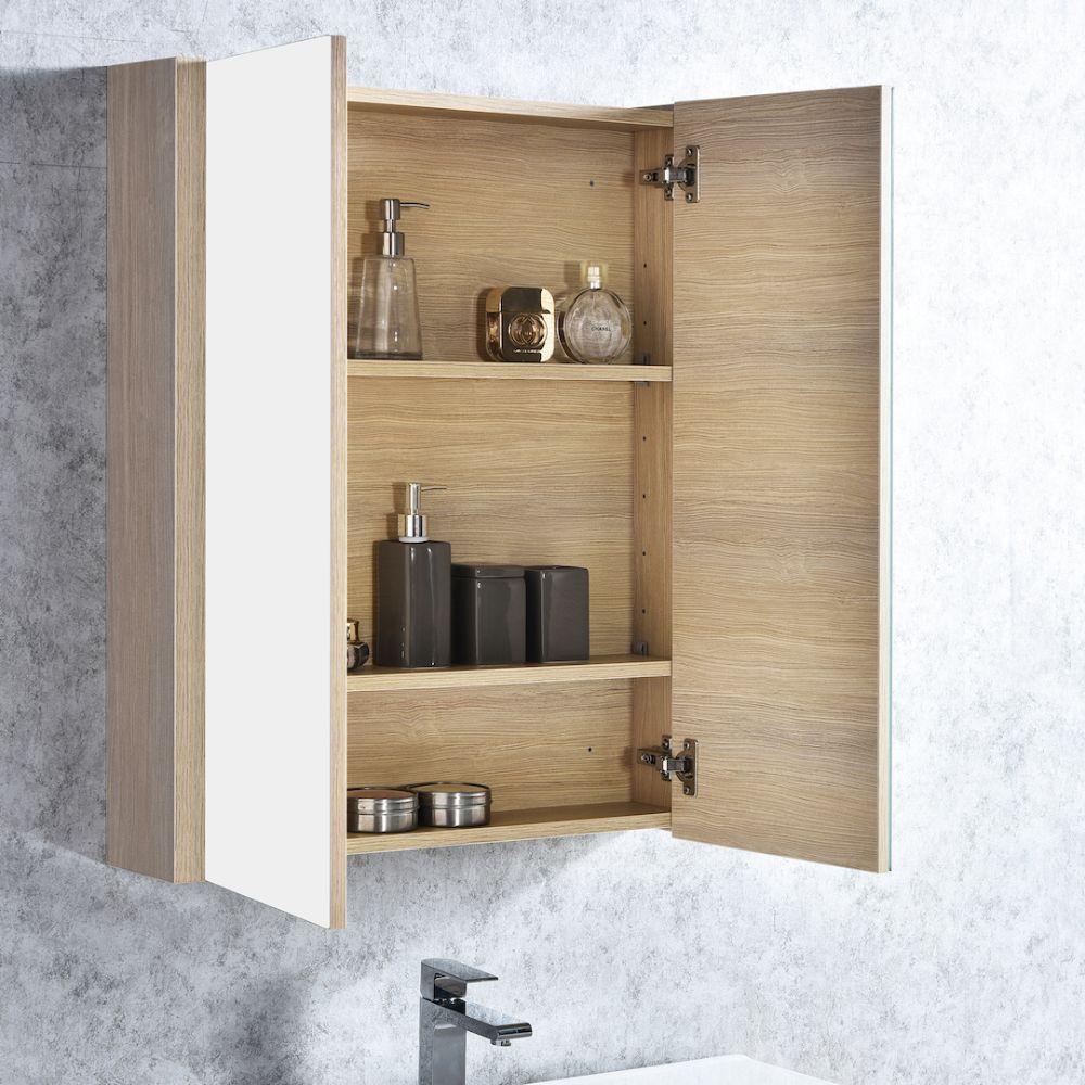 "Milan Modern 36"" Briccole Oak Bathroom Vanity Set with Medicine Cabinet"